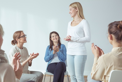 women in group counseling